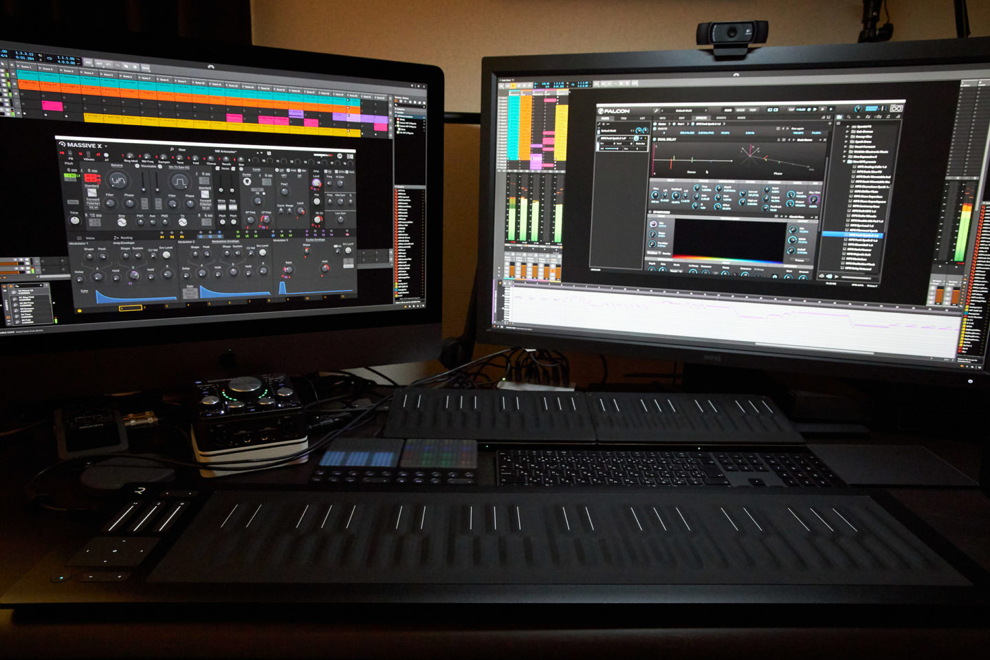 ROLI Seaboard Rise 49 with other ROLI Controllers and Bitwig Studio as I worked on Funky Falcon